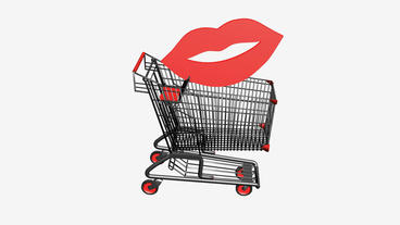Shopping cart and lip.retail,buy,cart,shop,basket,sale,customer,supermarket Animation