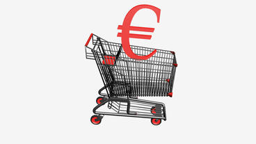 Shopping Cart With Euro Money.retail,buy,cart,shop,basket,sale,supermarket,marke stock footage