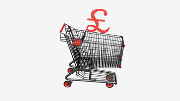 Shopping Cart with £ Pounds money.retail,buy,cart,shop,basket,sale,discount,su Animation