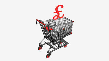 Shopping Cart with £ Pounds... Stock Video Footage