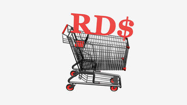 Shopping Cart with RD$ Pesos money.retail,buy,cart,shop,basket,sale,discount,sup Animation