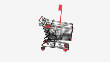 Shopping Cart and Toothbrush.retail,buy,cart,shop,basket,sale,supermarket,market Animation