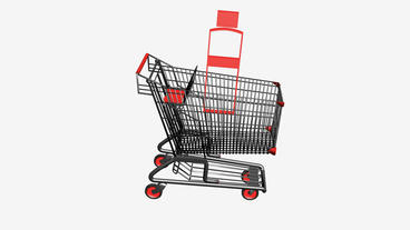 Shopping Cart And Kettle.retail,buy,cart,shop,basket,sale,discount,supermarket,m Animation