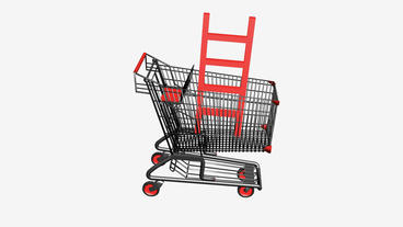 Shopping Cart with Ladder.retail,buy,cart,shop,basket,sale,supermarket,market Animation