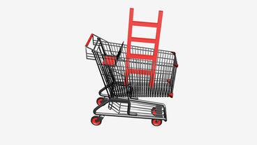 Shopping Cart with Ladder.retail,buy,cart,shop,basket,sale,supermarket,market Animation