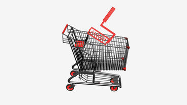 Shopping Cart and Paint roller.retail,buy,cart,shop,basket,sale,supermarket,mark Animation