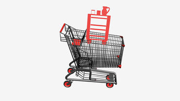 Shopping Cart with Table Cabinet.retail,buy,cart,shop,basket,sale,supermarket,ma Animation