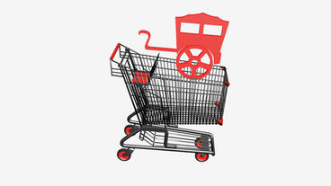 Shopping Cart and RV car.retail,buy,cart,shop,basket,sale,supermarket,market Animation