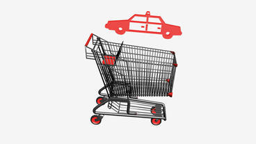 Shopping Cart and Police car.retail,buy,cart,shop,basket,sale,supermarket,market Animation