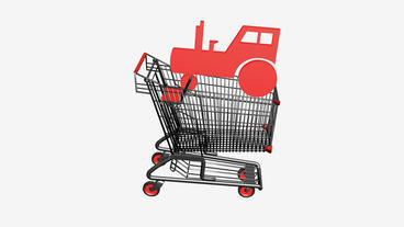 Shopping Cart And Tractor.retail,buy,cart,shop,basket,sale,supermarket,market,mall stock footage
