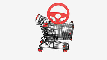 Shopping Cart and Steering wheel.retail,buy,cart,shop,basket,sale,discount,super Animation