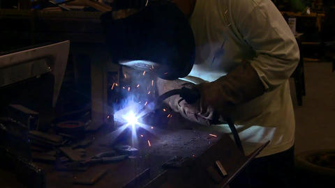 welder front shot Stock Video Footage