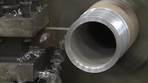 metal cutting lath 2 shots Stock Video Footage