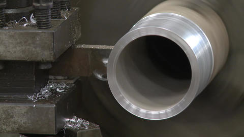metal cutting lath 2 shots Stock Video Footage