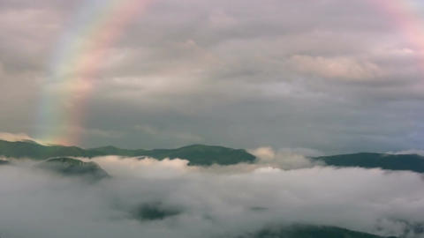 Rainbow In The Mountains stock footage