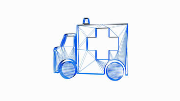 Rotation of 3D Ambulance.grid,mesh,emergency,medical,help,rescue,urgent,vehicle, Animation
