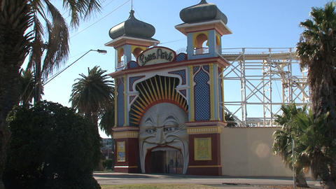 Luna Park, St Kilda's iconic amusement park Stock Video Footage