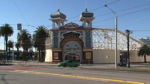 Luna Park, St Kilda's Iconic Amusement Park stock footage