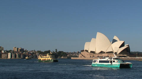 Ferries in front of the Sydney Opera House Stock Video Footage