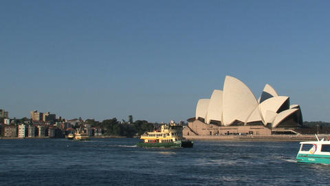 Ferries in front of the Sydney Opera House Footage