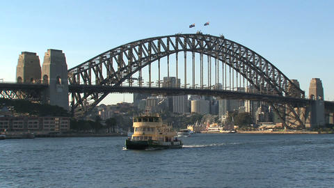 Harbour bridge with ferry arriving Footage