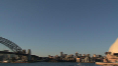 Pan from Opera house to the Harbour Bridge Footage