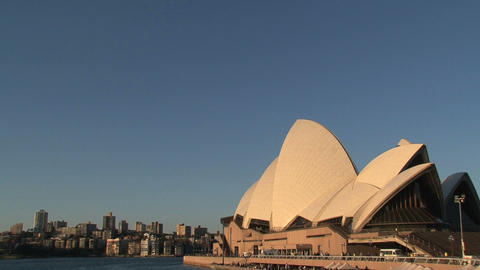 Pan from Sydney Opera House to the Harbour Bridge Stock Video Footage