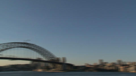 Pan from Sydney Opera House to the Harbour Bridge Footage