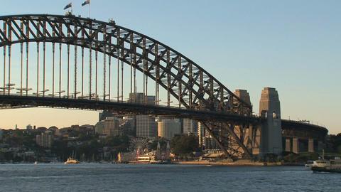 Sydney harbour bridge sunset Stock Video Footage