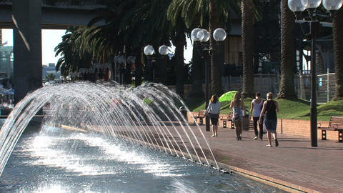 Fountain near harbor in Sydney Stock Video Footage