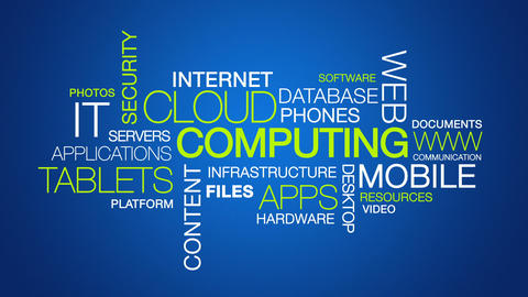 Cloud Computing Word Cloud Text Animation stock footage