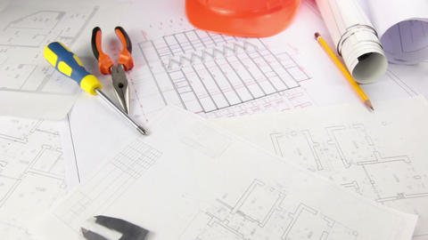 Creative mess on the desk of architect Stock Video Footage