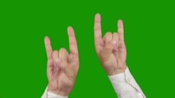 Hand sign ROCK AND ROLL. Two in one. Alpha channel is... Stock Video Footage