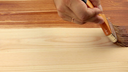 Varnishing of the wooden board Stock Video Footage