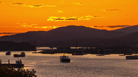 Sunset in Vancouver with Lion Gate Bridge Footage