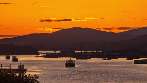 Sunset in Vancouver with Lion Gate Bridge Stock Video Footage