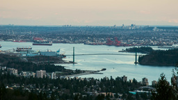 Day to night shot of Vancouver Lion Gate Bridge Footage