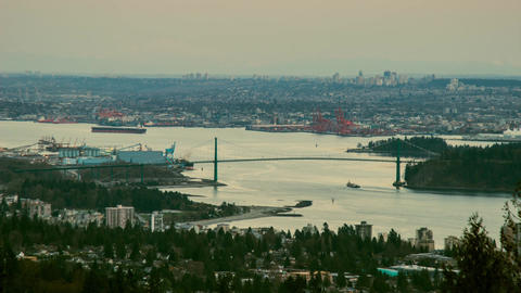 Day to night shot of Vancouver Lion Gate Bridge Stock Video Footage