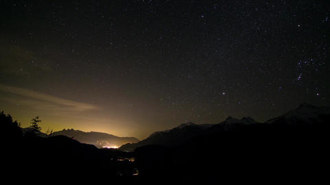 Starry night at a Valley Stock Video Footage