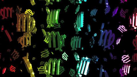 Looping Rainbow Zodiac Virgo Symbols Falling Animation