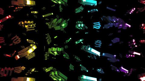Looping Rainbow Zodiac Virgo Symbols Falling Stock Video Footage