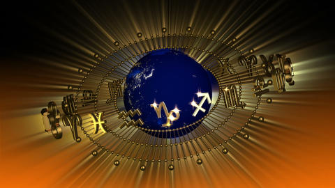 Golden Astrology Zodiac Signs and Planet Earth Stock Video Footage