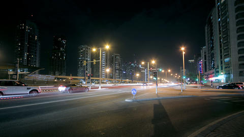 Dubai Street At Night Time Lapse Footage