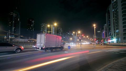 Dubai Street At Night Time Lapse Stock Video Footage