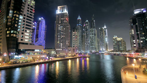Dubai Marina At Night Time Lapse Stock Video Footage