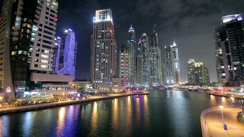 Dubai Marina At Night Time Lapse Footage