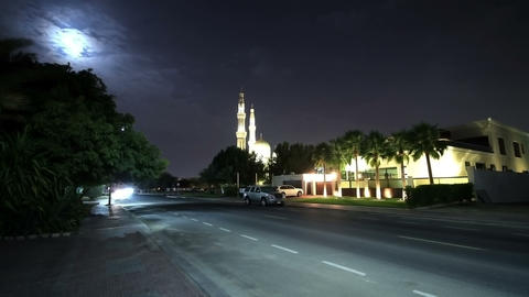 Time Lapse. Night View Of The Mosque With Moon Footage