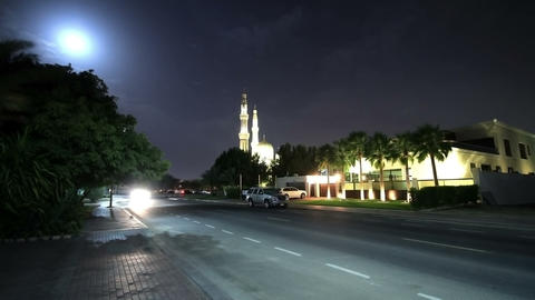 Time Lapse. Night View Of The Mosque With Moon Stock Video Footage