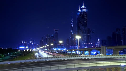 Time Lapse Of Dubai Night Against The Burj Khalifa Stock Video Footage