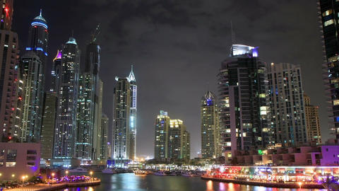 Dubai Marina At Night Time Lapse Footage